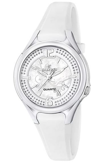 montre Calypso toute blanche avec bracelet en plastique pour femme