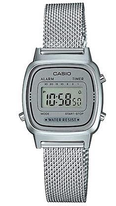 montre Casio pour femme en maille milanaise argentee et boitier argente modele LA670WEM 7EF