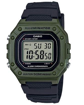 montre Casio pour homme W 218H style militaire avec bracelet en resine noir