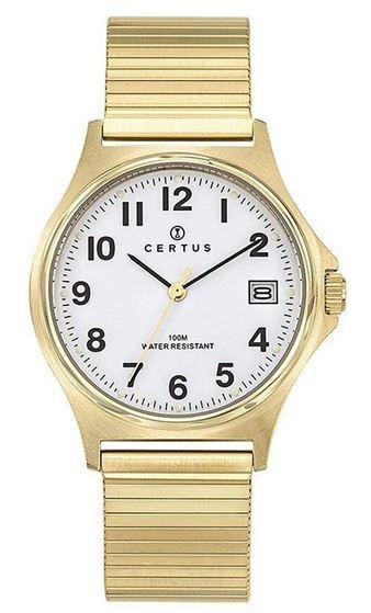 montre Certus pour femme avec cadran blanc et bracelet en acier dore extensible