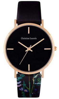 montre Christian LAcroix pour femme modele Mioyata 2035 avec cadran noir et bracelet a motifs