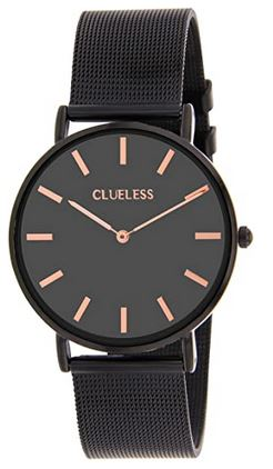 montre Cluesless pour femme noire avec details couleur or rose