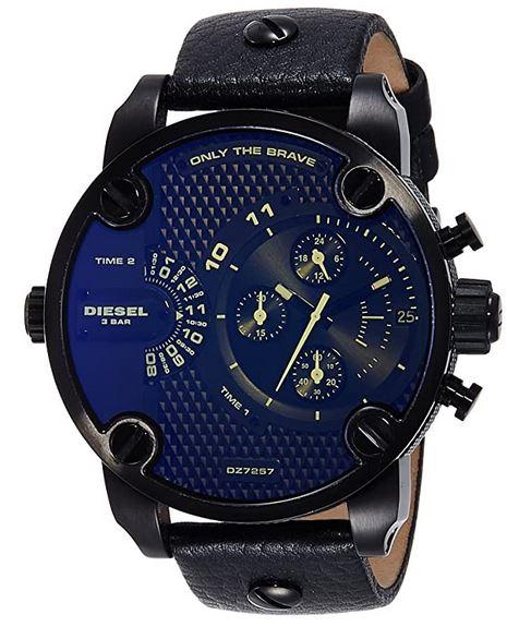 montre Diesel homme modele DZ7257 large chronographe noir avec bracelet en cuir noir et cadran bleu