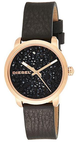 montre Diesel pour femme modele Dz5520 avec bracelet en cuir marron fonce et boitier dore