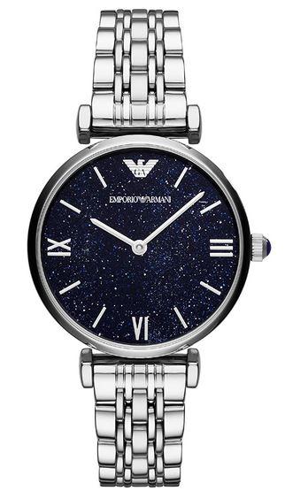 montre Emporio Armani Exchange AR11091 cadran noir paillete et bracelet couleur argent 1