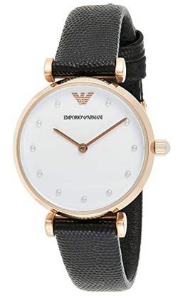 montre Emporio Armani Exchange AR11270 pour femme boitier couleur rose gold et bracelet en cuir noir