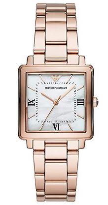 montre Emporio Armani Exchange carre pour femme couleur rose gold avec cadran blanc
