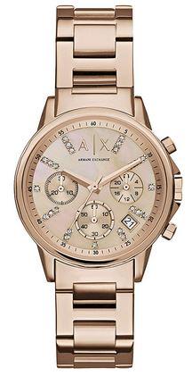 montre Emporio Armani Exchange pour femme chronographe entierement rose gold avec bracelet a grosses mailles