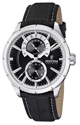 montre Festina F16573 3 pour homme avec bracelet en cuir noir et cadran chronographe atypique