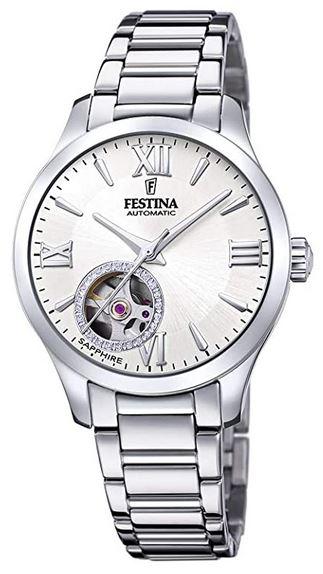 montre Festina pour femme a mecanisme automatique avec bracelet a 3 mailles en acier argente