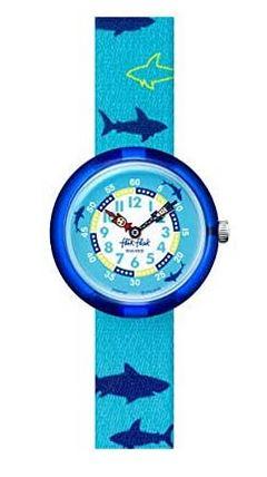 montre Flik Flak bleue avec motifs de requins pour garcons