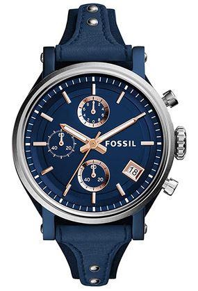 montre Fossil chronographe bleu et rose gold pour femme avec bracelet original en cuir bleu