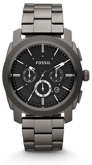montre Fossil masculine avec cadran chronographe et bracelet en mailles larges grises