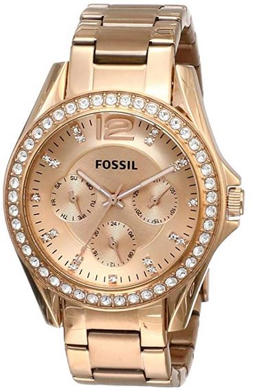montre Fossil pour femme chronographe couleur or rose