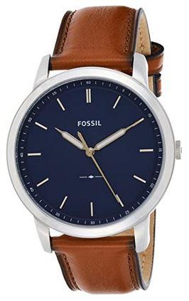 montre Fossil pour homme au design classique cadran bleu et bracelet en cuir marron