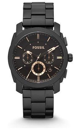 montre Fossil pour homme cadran chronographe et bracelet en mailles larges noires