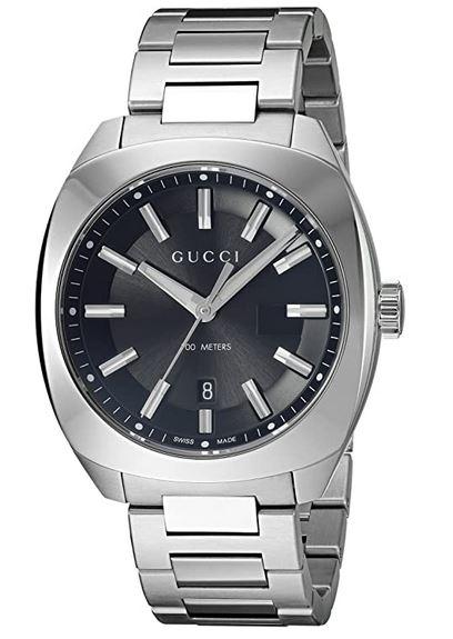 montre Gucci Ya142301 pour homme avec bracelet en argent et cadran gris 1