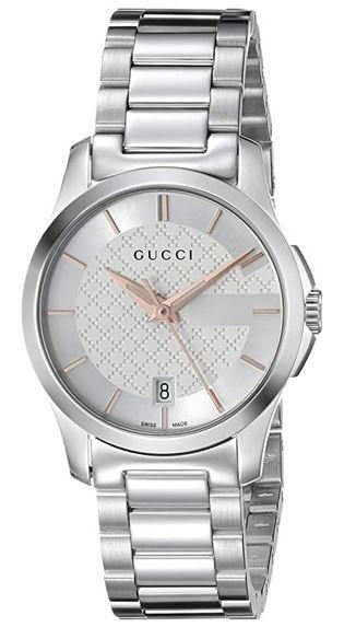 montre Gucci pour femme modele YA126523 argent et or rose