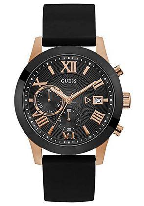 montre Guess homme noir et rose gold cadran chronographe