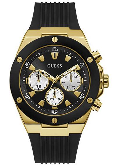 montre Guess masculine avec boitier couleur or et bracelet de silicone noir