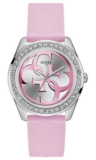 montre Guess pour femme avec bracelet rose en silicone et boitier en acier inoxydable couleur argent modele W1240L1