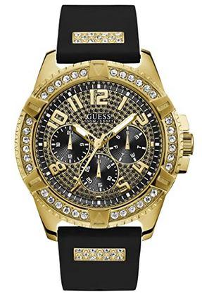 montre Guess pour homme couleur or avec bracelet noir