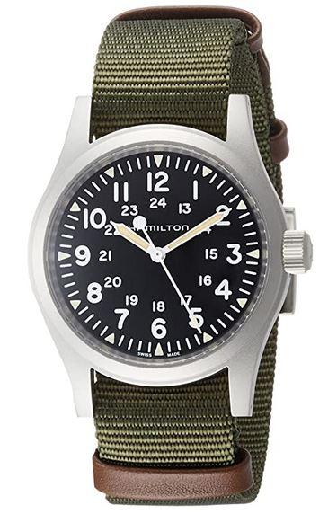 montre Hamilton masculine avec bracelet en nylon vert kaki