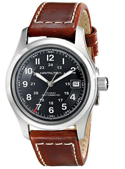montre Hamilton pour homme avec cadran bleu et bracelet en cuir marron
