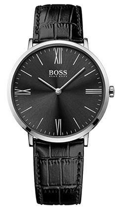 montre Hugo Boss homme 1513369 toute noire bracelet cuir