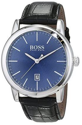 montre Hugo Boss homme 1513400 bracelet cuir noir cadran bleu analogique