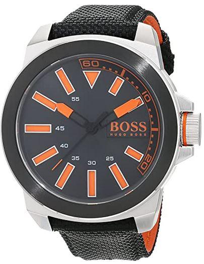 montre Hugo Boss homme cadran noir et orange avec bracelet en Kevlar noir