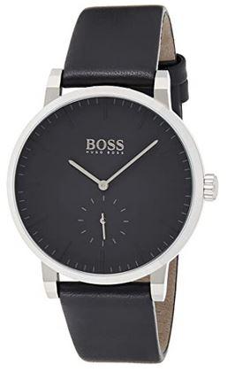 montre Hugo Boss homme modele 1513500 toute noire bracelet en cuir lisse