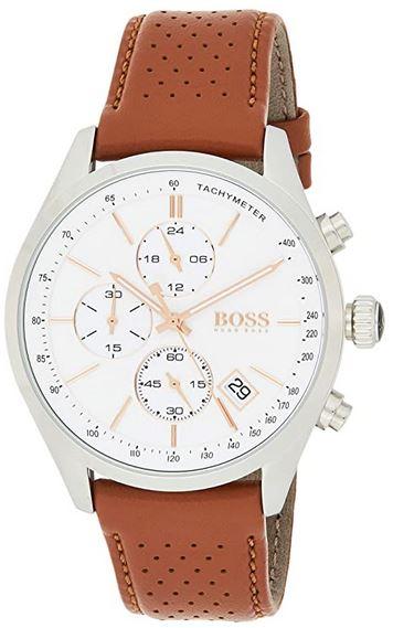 montre Hugo Boss pour homme 1513475 cadran blanc bracelet cuir marron