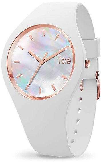 montre Ice Watch Ice Pearl White pour femme modele analogique blanc et rose gold