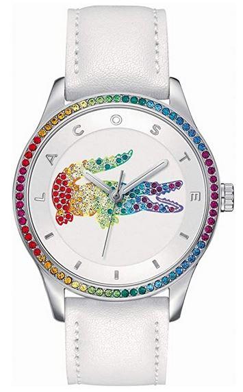 montre Lacoste pour femme avec bracelet de cuir blanc et cadran crocodile multicolor modele 2000822
