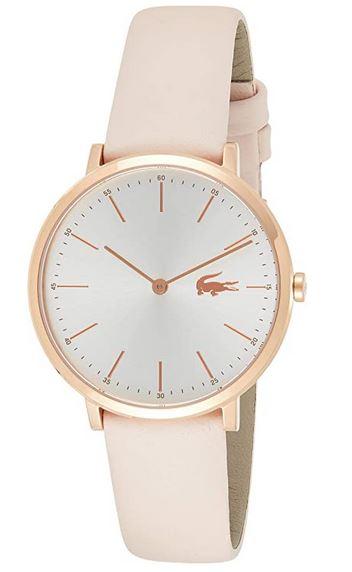 montre Lacoste pour femme avec bracelet en cuir rose pale et cadran blanc