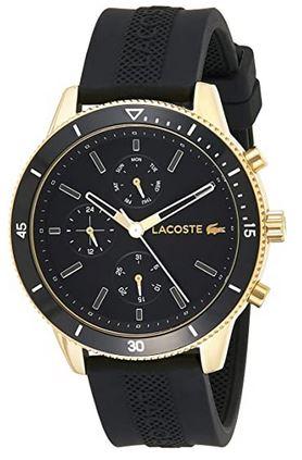 montre Lacoste pour homme doree et noire avec cadran chronographe