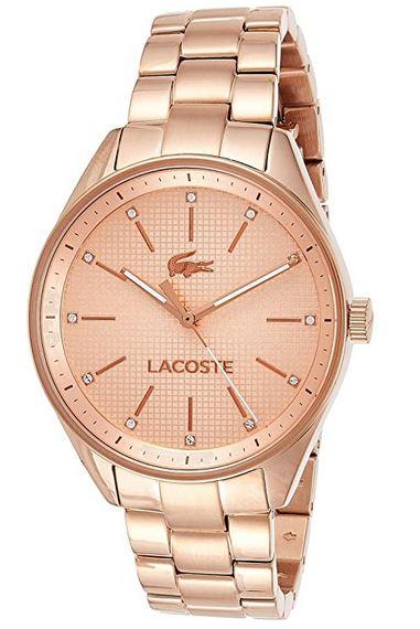 montre Lacoste rose gold pour femme avec acier inoxydable plaque modele 2000899