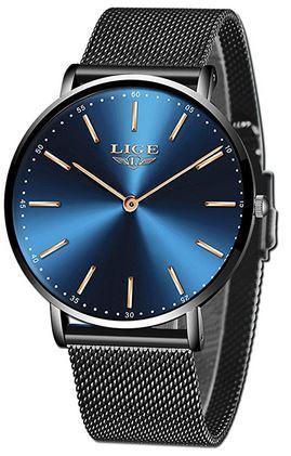 montre Lige masculine avec un bracelet en mailles ultra fines noires