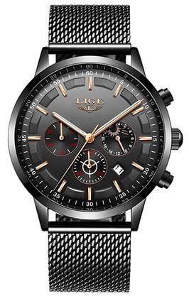 montre Lige pour homme chronographe noir et dore avec bracelet en mailles milanaises dorees
