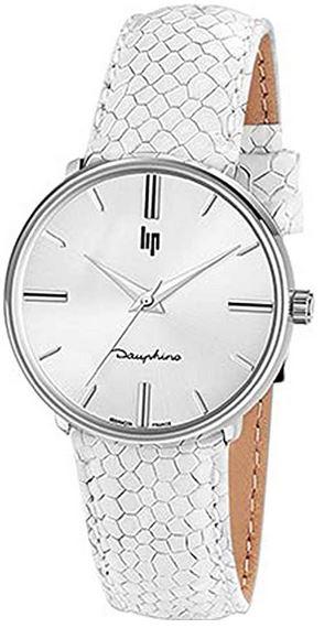 montre Lip Dauphine 34 pour femme avec bracelet en cuir blanc et cadran blanc