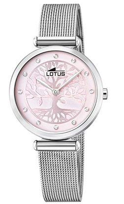 montre Lotus cadran rose avec arbre et bracelet fin en mailles milanaises modele 18708 2 pour femme