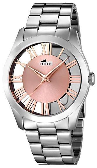 montre Lotus destinee au femme bracelet en acier inoxydable et cadran rose minimaliste