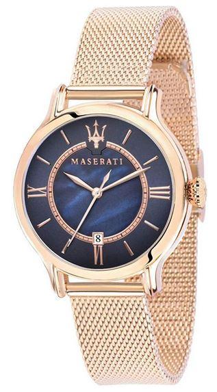 montre Maserati pour femme collection Epoca aiguilles et bracelet dore en mailles milanaises et cadran bleu