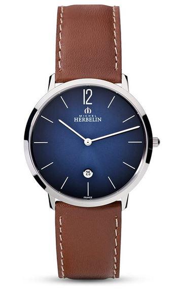 montre Michel Herbelin pour femme cadran bleu et bracelet en cuir marron clair