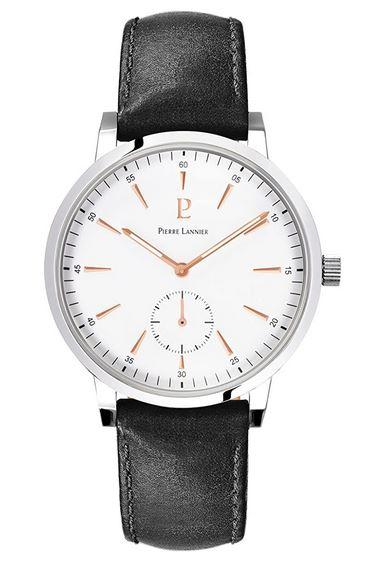 montre Pierre Lannier pour homme avec bracelet en cuir noir et cadran blanc analogique