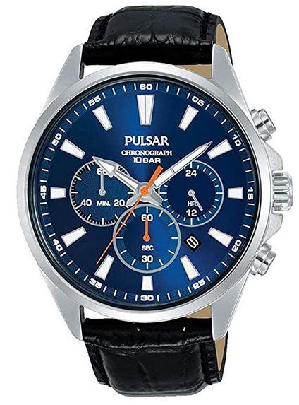 montre Pulsar homme chronographe bleu avec bracelet en cuir noir