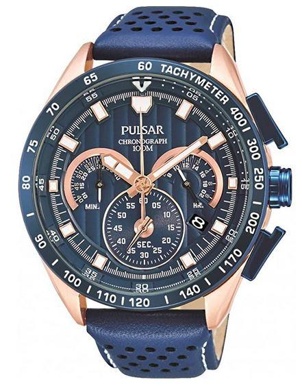 montre Pulsar pour homme chronographe bleu avec bracelet en cuir bleu perfore