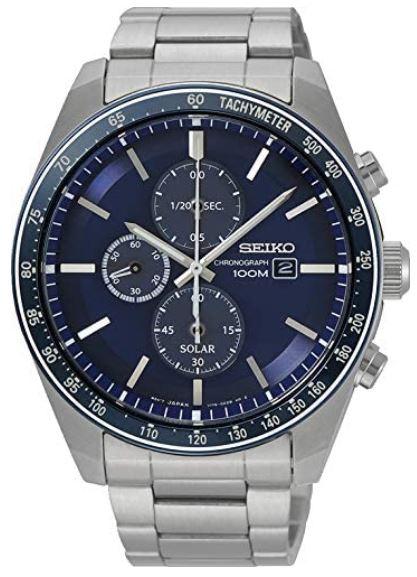 montre Seiko homme chronographe avec cadran bleu