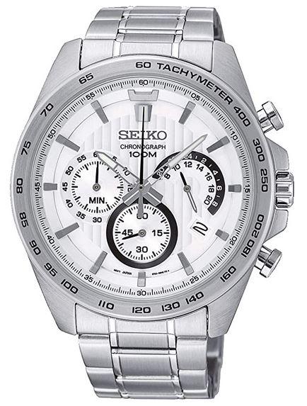montre Seiko homme chronographe en argent acier avec cadran blanc